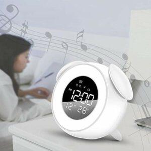 WWWL Réveil musical, LED réveil pour enfants, veilleuse, sons de sommeil, machine de chevet, blanc