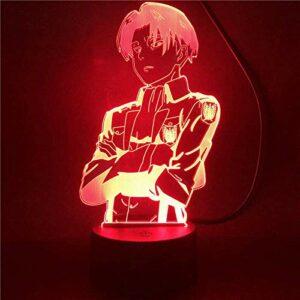 Yicare 3D Illusion Lampe LED Veilleuse Coloré Cadeau Anime Attaque sur Titan Lampe de Table pour Maison Chambre