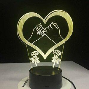 YOUPING petits doigts tenant par la main jurent promesse d'amour 3D LED lumière 7 couleurs changeantes veilleuse enfants lampe de table cadeau amour cadeau
