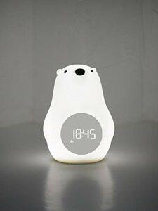 Yuzhijie Grand ours blanc réveil lumière d'ambiance chambre dessin animé silicone contrôle vocal réveil réveil lampe de chevet lampe de chevet