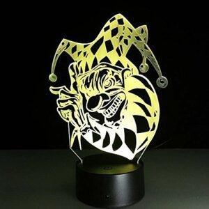 7 couleurs lampe Halloween Clown 3D visuelles LED veilleuses pour enfants touch USB Table bébé sommeil veilleuse