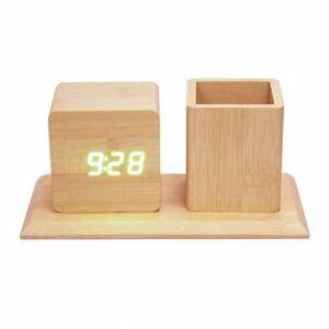 AFCITY Réveil De Chevet Mini Réveil en Bois équipé d'un étui à Stylo Horloges Silencieuses Numériques Cadeau étudiant Fonctionnel Utilisation Facile à Lire
