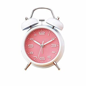 AFCITY Réveil De Chevet Réveil Chevet étudiant Muet Horloge De Chambre Simple avec Veilleuse Petit Réveil Utilisation Facile à Lire (Size:12×11.5×5.5cm; Color:White+Powder)