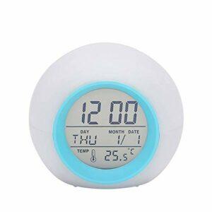 AFCITY Réveil De Chevet Réveil De Table Multifonctionnel à 7 Couleurs Changeantes à LED Utilisation Facile à Lire