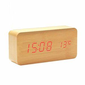 AFCITY Réveil De Chevet Réveil Numérique LED en Bois pour Chambres à Coucher Utilisation Facile à Lire