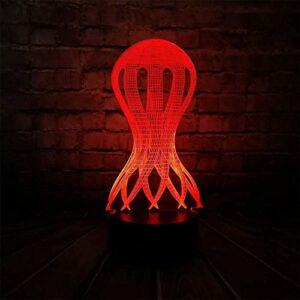 Apprentissage lampe de bureau 3D lumière veilleuse calmar poulpe style 3D lumière mignon enfant veilleuse RGB LED lumière décoration de Noël avec batterie de télécommande