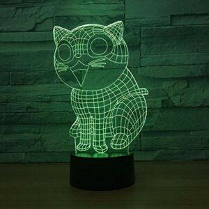 Chat mignon 3D lampe à LED 7 couleurs veilleuses pour enfants tactile Led Table USB bébé veilleuse de sommeil
