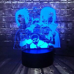 Dessins animés chasseur x chasseurLampe de table bandes dessinées Naruto ensemble Kakashi Shikamaru Sakura LED salle de dessin animé veilleuse 3D visuel Sasuke MAOJIE