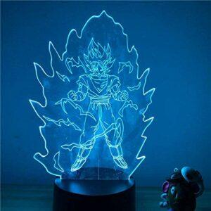 Dragon Ball Z Goku Super Saiyan Ver -3D illusion lamp -3D LED Lampe Illusion Optique Veilleuses 7 couleurs Changement Optique Tactile USB et Télécommande 3D Illusion Nuit Lumière