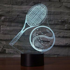 Jouer au tennis 3D 7 couleurs LED veilleuses pour enfants tactile LED Table USB bébé sommeil veilleuse