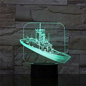 Lampe 3D le navire à piles cadeau génial pour les enfants Base lumineuse Dropship atmosphère Led veilleuse lampe couleur changeante