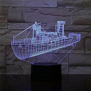 Lampe 3D Unique le capteur tactile de destroyer de navire meilleure décoration pour le bureau livraison rapide 7 couleurs avec lampe de veilleuse à LED à distance