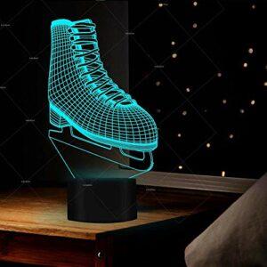 Lampe à illusion 3D LED – Veilleuse créative – 7 couleurs – Dégradé de couleurs – Chaussures de patinage, décoration de table – Meilleur cadeau d'anniversaire pour les enfants
