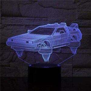 Lampe à illusion 3D – Veilleuse – Retour vers l'avenir – Véhicule – Joli cadeau pour film – Lampe de bureau à piles – Cadeau pour les enfants
