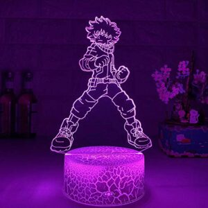 Lampe de nuit 3D Illusion Lampe 3D Lampe Izuku Midoriya Figurine Enfant Chambre Veilleuse LED Touch Touch Éclairage Anime Mon Héros Académie Cadeau Veilleuse LED ZMSY