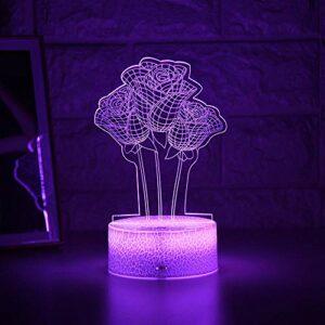 Lampe de nuit 3D Illusion Lampe Enfant Light Night Night 3D LED Veilleuse Créative Table de Chevet Lampe Romantique Rose Enfant Gril Décoration Cadeau ZMSY