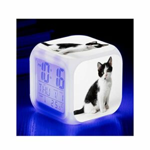 LORIEL Réveil Numérique avec 7 Couleurs LED, Thermomètre D'alarme De Date, Réveil De Bureau De Bureau, Maison pour Enfants,A