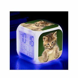 LORIEL Réveil Numérique avec 7 Couleurs LED, Thermomètre D'alarme De Date, Réveil De Bureau De Bureau, Maison pour Enfants,B