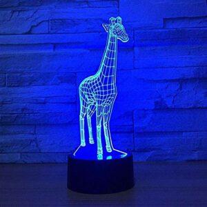 Mignon girafe 3D USB LED lampe 7 couleurs enfants chambre décoration animal 3D veilleuse enfants jouet cadeau lampe de table