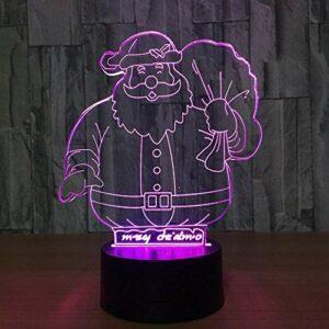 Mignon père noël 7 couleur lampe 3D visuelles LED veilleuses pour enfants tactile Table USB bébé sommeil veilleuse cadeau
