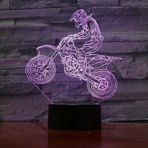 Motocycliste 3D lampe effet de lumière visuelle veilleuse merveilleuse avec télécommande LED veilleuse lampe Cool décor pour enfant