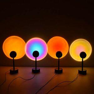 OLMME Lampe de Projecteur de Nuit de Nuit, Lampe de Nuit à 180 Degrés Sunset Night Lights avec Bouton USB Ambiance Arc-en-Ciel LED Nightlight, Lampe de Nuit pour La Dé(Color:Projection Arc-en-Ciel)