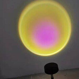 OLMME Lampe de Projection Au Coucher du Soleil, Vision Romantique à 180 Degrés de Rotation Arc-en-Ciel Projection Lumière LED Projecteur Rechargeable USB p(Color:Lampe de Projection Solaire)