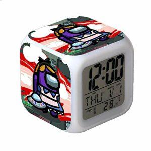 Parmi nous différentes identités Jeux Réveil numérique caractère Snooze horloge Lampe LED Horloge Carrée Pour Enfants Cadeaux D'anniversaire D'étudiant-M