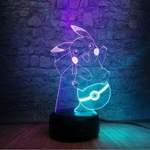 Pokemon Pikachu 3D veilleuse LED lumière 7/16 couleur Transformation tactile télécommande enfants vacances anniversaire cadeau spécial chambre décoration