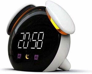 Réveil à LED avec fonction USB, fonction réveil, veilleuse, lampe de chambre à coucher, changement de couleur, réveil multifonction pour noir/blanc