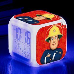 Réveil Lumières USB Pompier Sam Réveil Chambre d'Enfants Chevet 7 Couleurs Veilleuse Réveil pour Enfants Cadeaux Anniversaires B