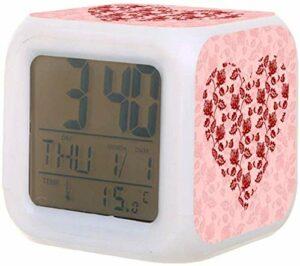 Réveil numérique horloge LED colorée avec thermomètre Date pour réveiller les étudiants pour enfants au chevet de la chambre cadeaux de la Saint-Valentin-F