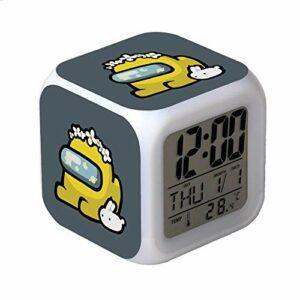 Réveil numérique parmi nous différentes identités jeux caractère Snooze horloge lampe LED horloge carrée enfants étudiants cadeaux d'anniversaire-R