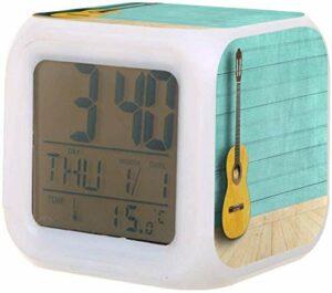 Réveil numérique pour enfants chevet coloré thermomètre batterie réveil pour dormir réveiller les étudiants pour enfants à la chambre-E