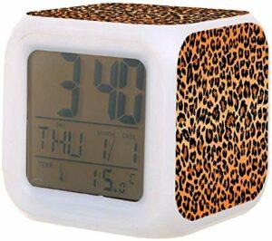 Réveil numérique pour enfants imprimé léopard coloré avec thermomètre réveil à batterie pour réveiller les étudiants pour enfants à la chambre à coucher cadeaux de chevet-B