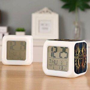 Réveil numérique pour enfants réveil à batterie thermomètre coloré pour réveiller les étudiants pour enfants à la chambre à coucher-UNE