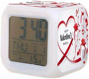 Réveil numérique pour enfants Saint-Valentin chat mignon avec horloge de nuit colorée de mode pour les étudiants des enfants à la chambre à coucher cadeaux de chevet-F