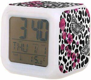 Réveil pour enfants 7 couleurs changeantes veilleuse LED réveils numériques pour bureau étudiant chevet électrique moderne horloge silencieuse avec thermomètre-B