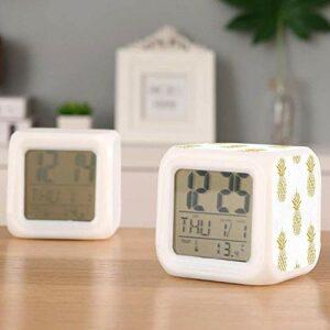 Réveil réveil numérique LED nuit brillant pour enfants garçon fille cadeaux réveil chevet réveils calendrier affichage thermomètre-C