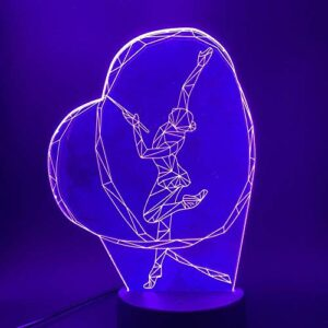 Ruban de gymnastique danse fille 3D LED veilleuse couleur interrupteur tactile veilleuse pour bébé chambre lampe de Table de chevet