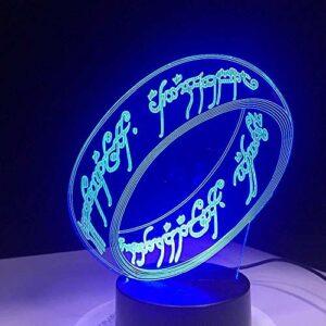 Seigneur des anneaux 3D veilleuse USB capteur tactile nouveauté éclairage enfant enfants présent LED veilleuse décor