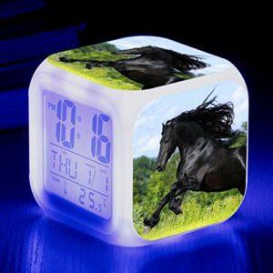 shiyueNB 3D Cheval LED Couleur Changeante réveil pour Cadeau d'anniversaire pour Enfants réveil numérique Bureau Horloge électronique Bureau Horloge de Table Rose