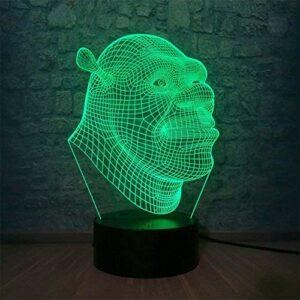 Shrek Veilleuse 3D pour enfants Lampe illusion 3D avec 16 couleurs changeantes et télécommande Cadeau d'anniversaire pour garçons filles 6 5 4 ans Cadeau de Noël