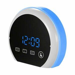 Varadyle RéVeil NuméRique LED Miroir de Contact Horloges de Bureau de Chevet 12H / 24H RGB Veilleuse 2 Ports USB pour Chambre à Coucher, Bleu