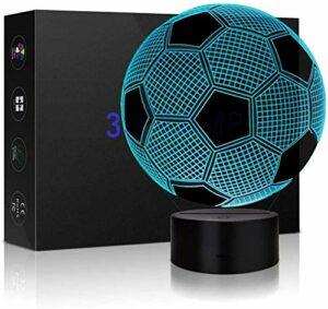 Veilleuse 3D pour enfants en forme de ballon de football avec télécommande 16 couleurs changeantes