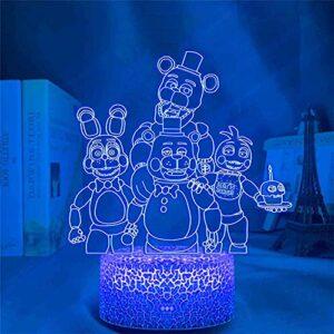 Veilleuse LED 3D Freddy 3D illusion d'optique Lampe de bureau avec télécommande USB décorative pour garçons et filles Chambre à coucher Cadeaux d'anniversaire