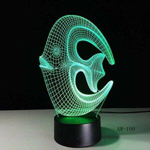 Veilleuse LED illusion 3D – Joli animal – En acrylique – Multicolore – Jouet pour enfants – Cadeau de Noël