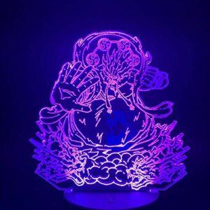 Veilleuse LED illusion 3D – Une pièce – Singe D. Ruffy Gear – 4ème force – Changement de couleur – Visuel – Lampe de table pour enfant