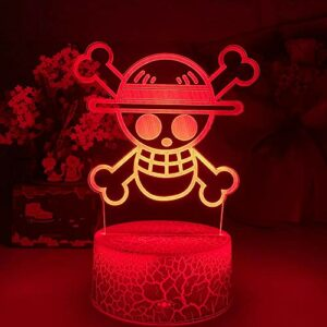 ZMSY Lampe de nuit 3D Illusion Lampe Anime One Piece Logo Enfant Veilleuse LED Touch Capteur Veilleuse Colorée pour Chambre d'enfant Décoration Cool Bureau 3D Lampe Cadeau