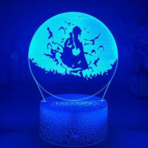 ZMSY Lampe de nuit Illusion Lampe Itachi Crows LED Anime Lampe 3D Lampe Enfant Décoration Chambre à coucher Télécommande LED Ambiance de Noël Veilleuse
